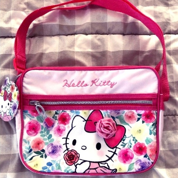 SANRIO HELLO KITTY MESSENGER BAG PURSE - FLORAL c45b86ebb04f1